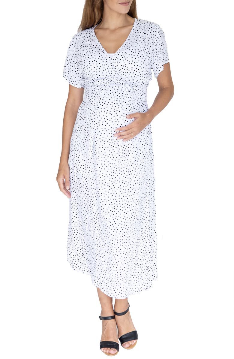 ANGEL MATERNITY Polka Dot Empire Waist Maternity/Nursing Dress, Main, color, WHITE
