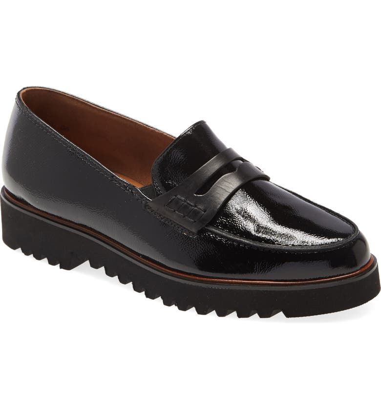 PAUL GREEN Dazzle Loafer, Main, color, BLACK LEATHER COMBO