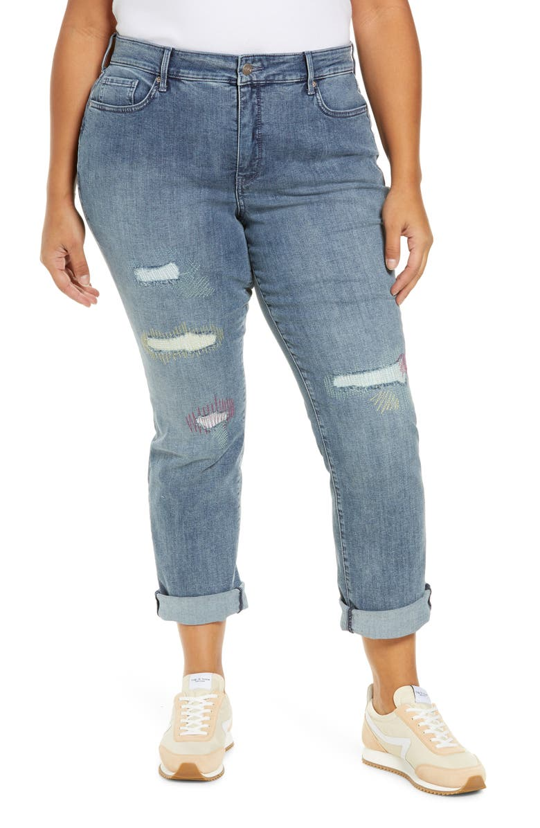 NYDJ Marilyn Rip & Repair Straight Leg Jeans, Main, color, CLEAN MONET