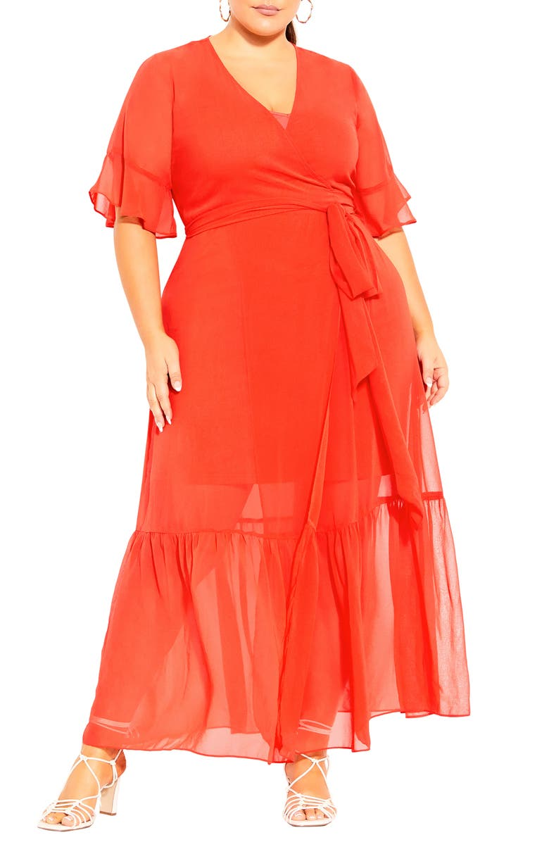 CITY CHIC Flutter Sleeve Wrap Maxi Dress, Main, color, TIGERLILY