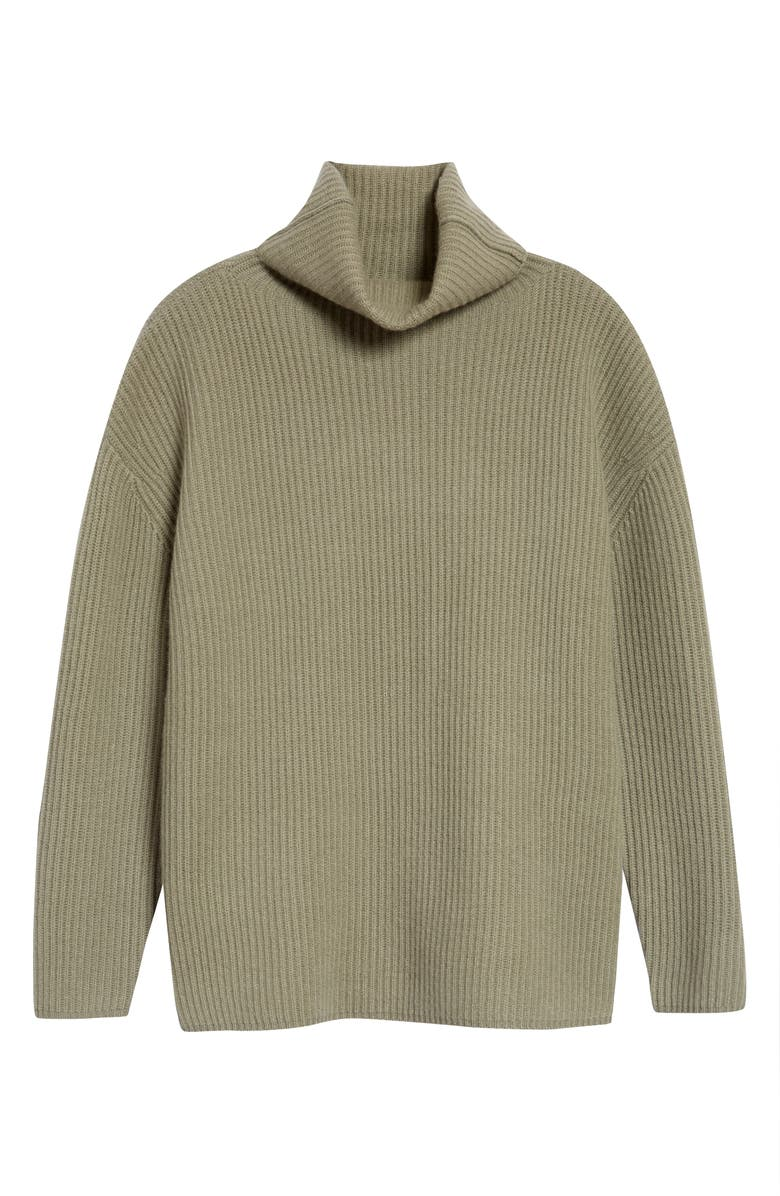 NORDSTROM SIGNATURE Funnel Neck Cashmere Tunic Sweater, Main, color, GREEN VETIVER