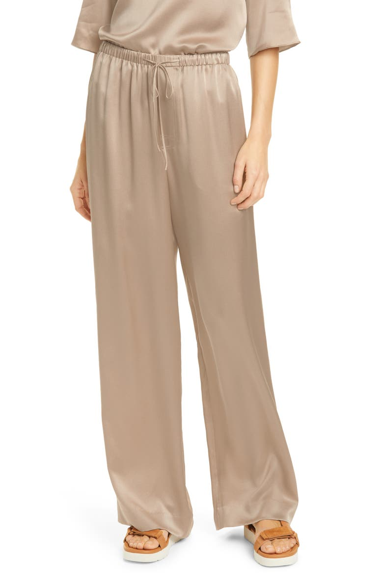 VINCE Silk Drawstring Pants, Main, color, TAUPE
