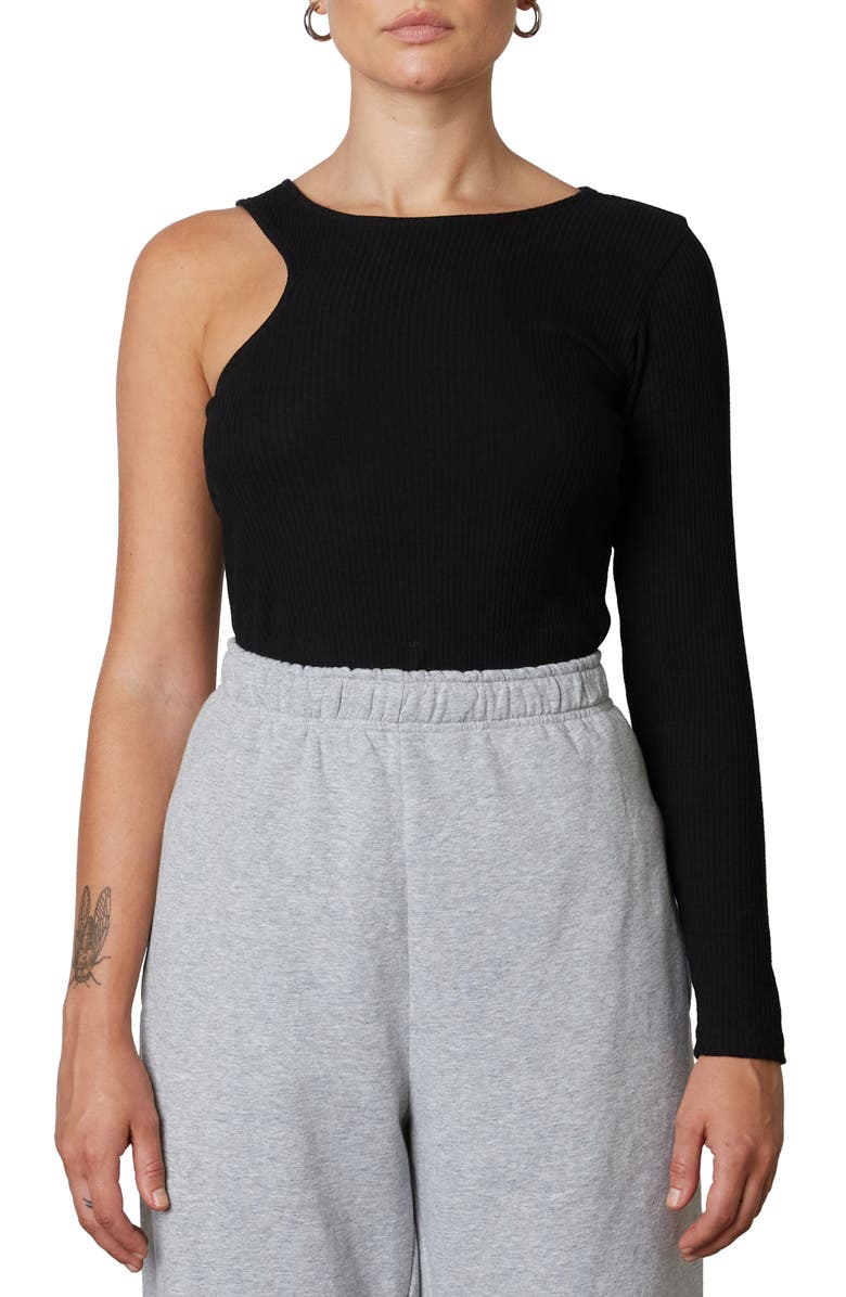 NIA Asymmetrical One-Shoulder Ribbed Sweater, Main, color, BLACK