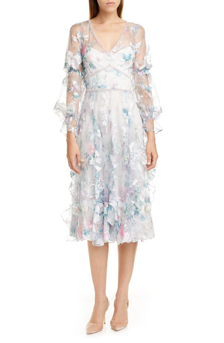 MARCHESA NOTTE Embroidered Long Sleeve Tulle Midi Dress, Main, color, 900