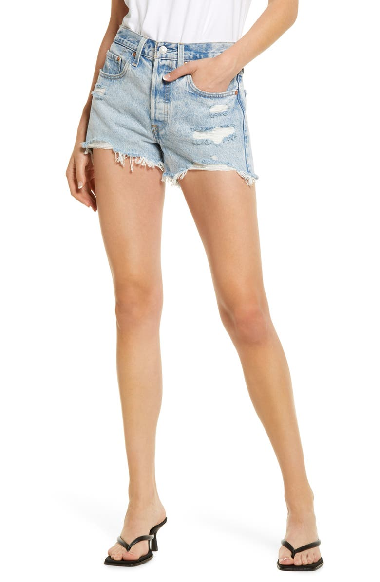 LEVI'S<SUP>®</SUP> 501<sup>™</sup> Ripped Cutoff Denim Shorts, Main, color, ATHENS SWELL