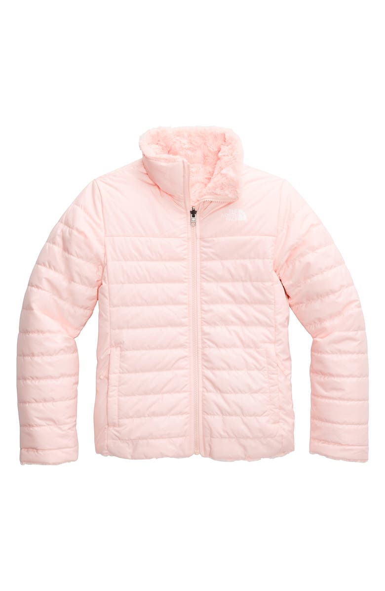 THE NORTH FACE Kids' Mossbud Swirl Reversible Water Repellent Heatseeker<sup>™</sup> Jacket, Main, color, PINK SALT