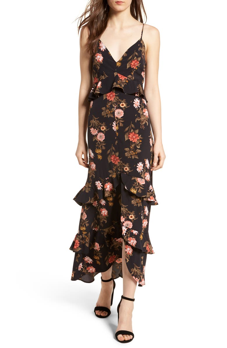 ALL IN FAVOR Tiered Maxi Dress, Main, color, BLACK FLORAL