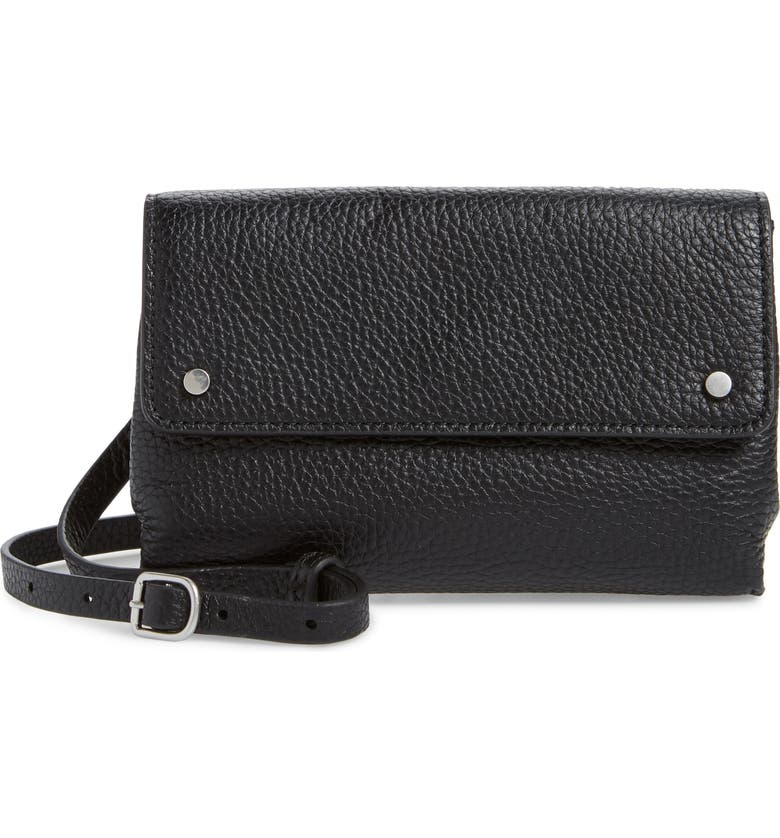 TREASURE & BOND Shawn Leather Crossbody Phone Case, Main, color, 001