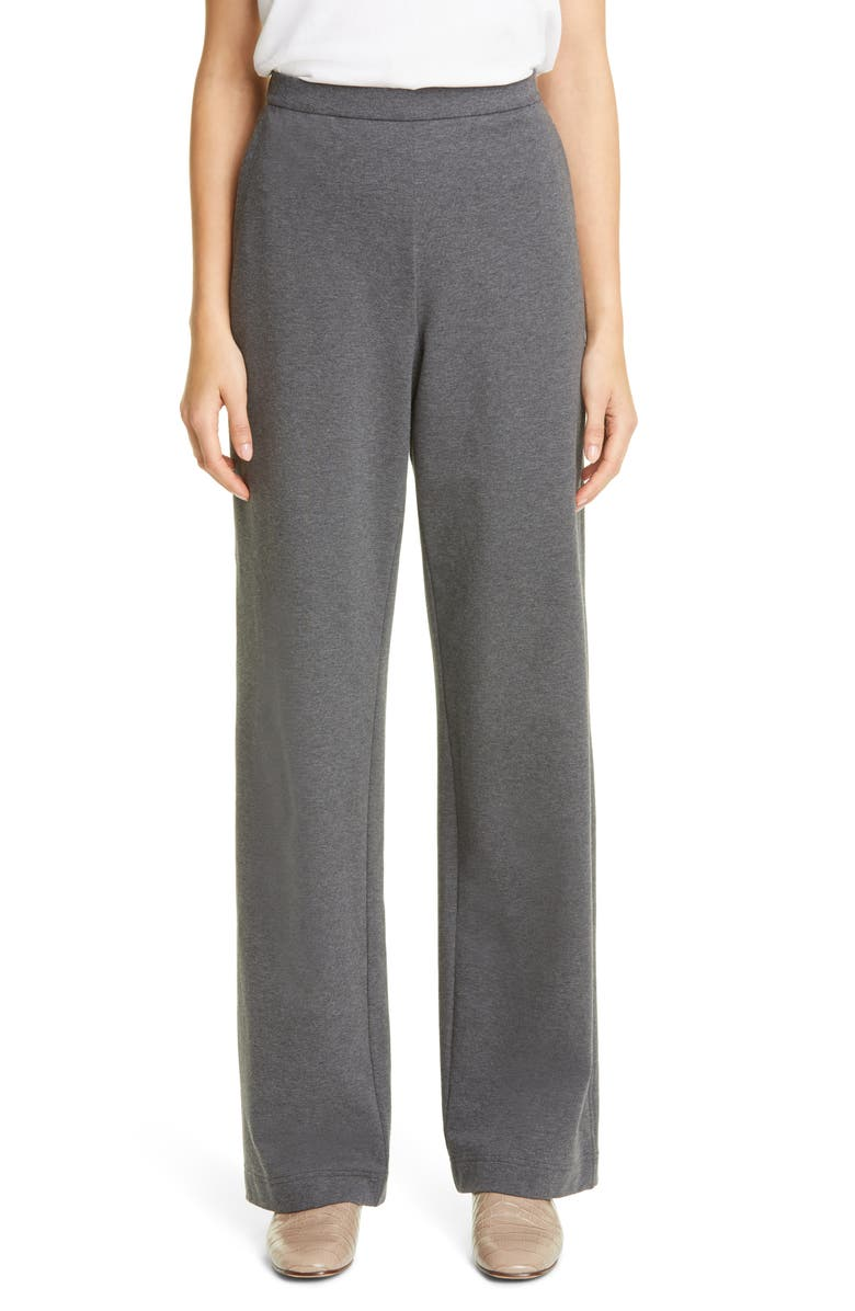 LAFAYETTE 148 NEW YORK Webster Ultra Comfort French Terry Pants, Main, color, GRAPHITE MELANGE