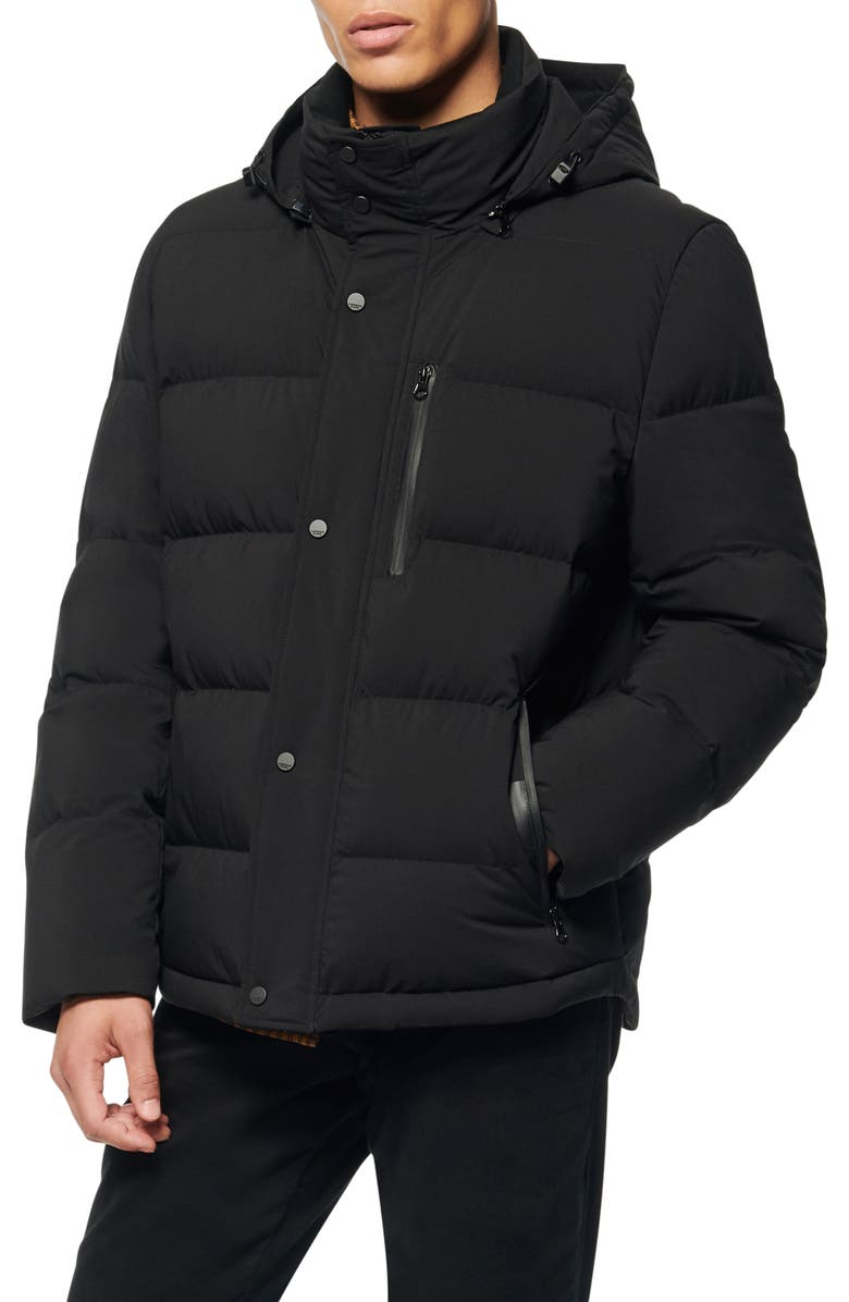 ANDREW MARC Tambos Quilted Down Coat, Main, color, BLACK
