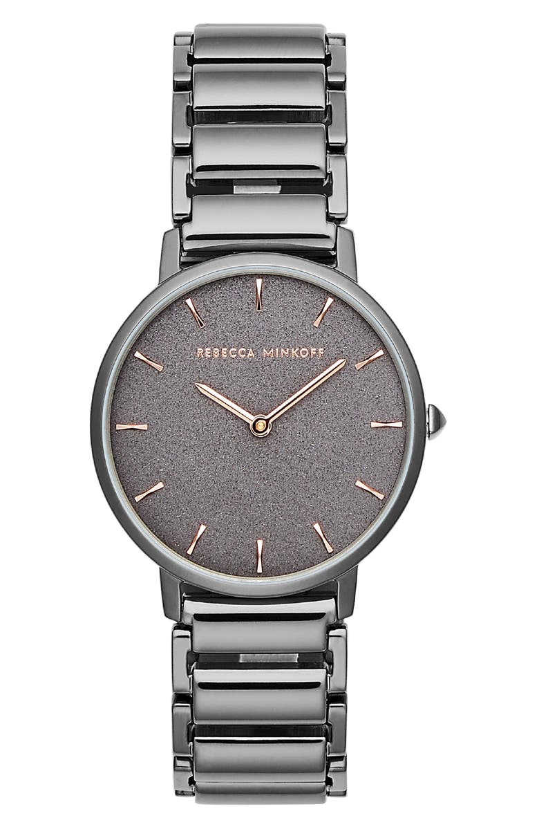 REBECCA MINKOFF Major Bracelet Watch, 35mm, Main, color, GREY