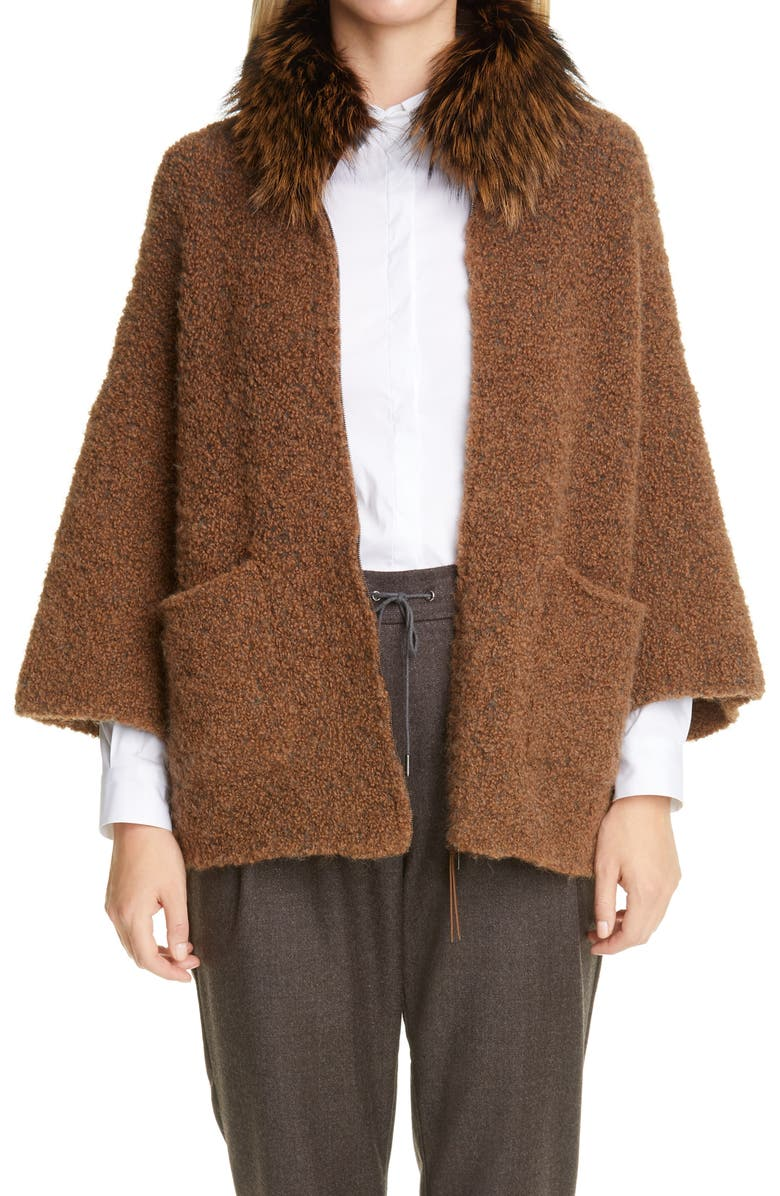 FABIANA FILIPPI Genuine Fox Collar Alpaca Blend Cardigan, Main, color, Brown