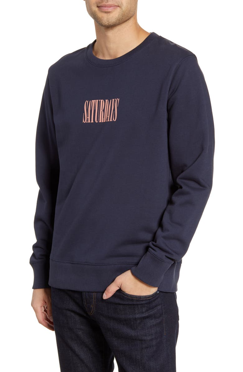 SATURDAYS NYC Bowery Middle Condensed Crewneck Sweatshirt, Main, color, 401