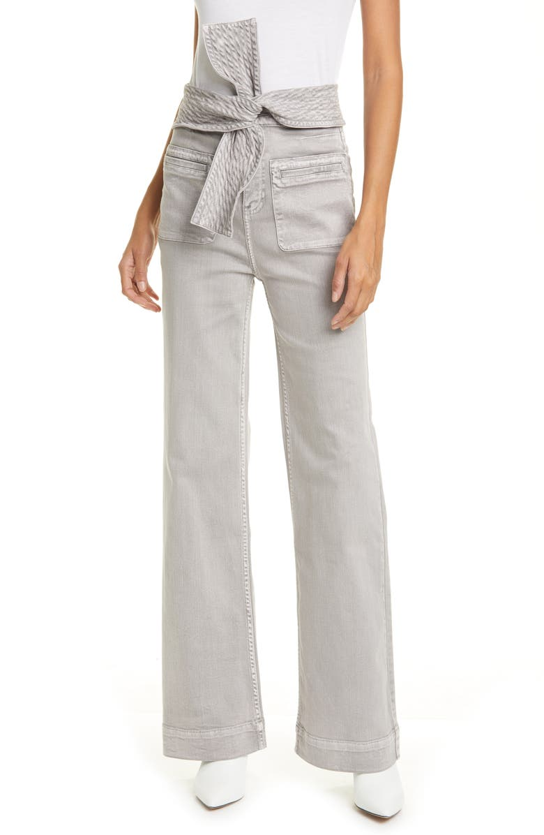 ULLA JOHNSON Wade Tie Waist Tapered Jeans, Main, color, 020
