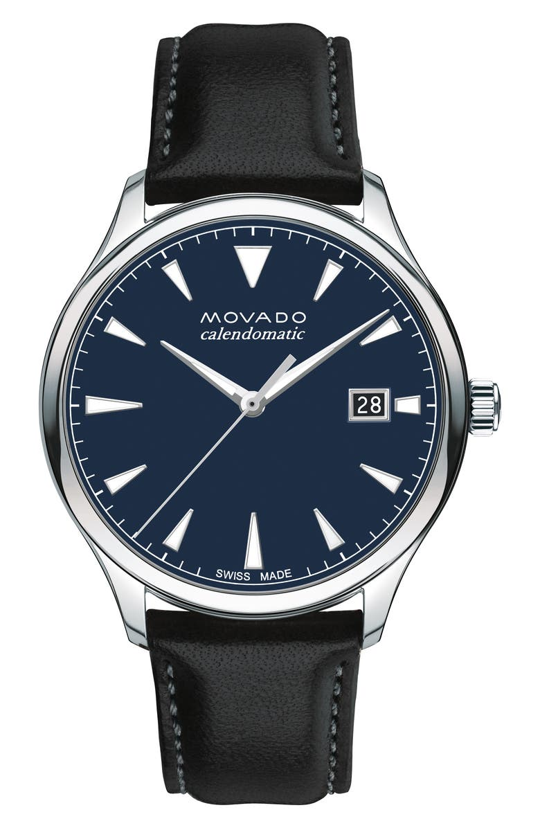 MOVADO Heritage Leather Strap Watch, 40mm, Main, color, 001