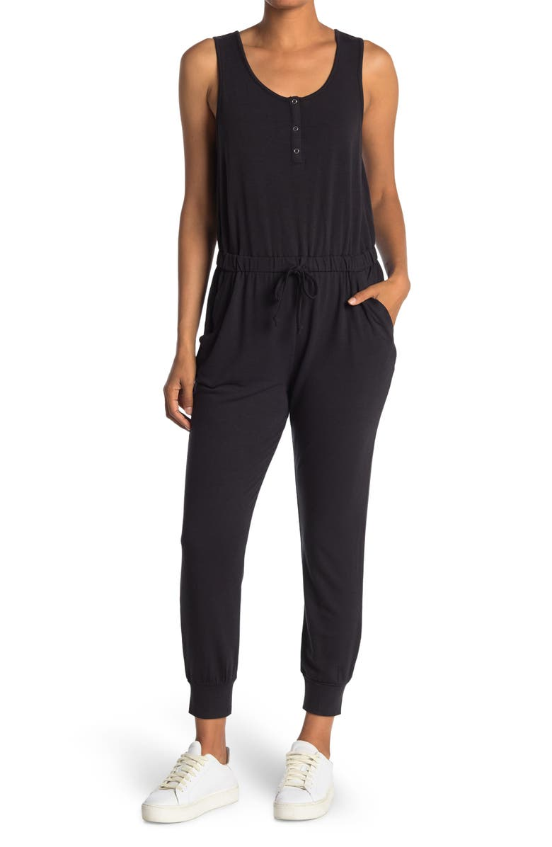COMO VINTAGE French Terry Sleeveless Jumpsuit, Main, color, BLACK