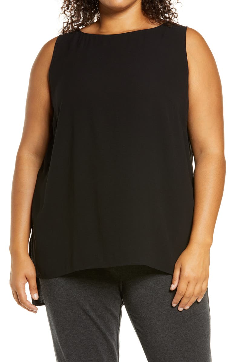 EILEEN FISHER Bateau Neck Long Silk Shell, Main, color, BLACK