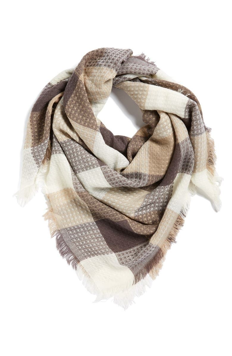 BP. Check Square Scarf, Main, color, IVORY MULTI