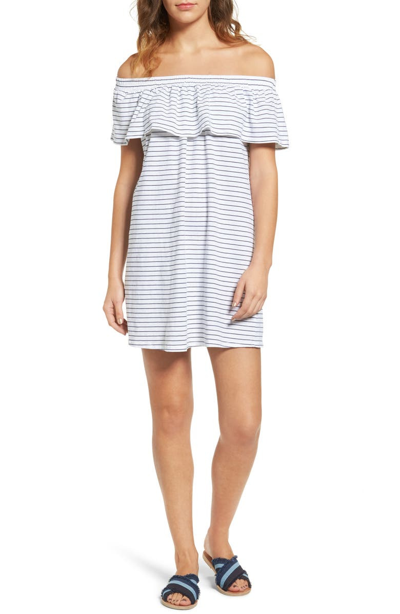 SUNDRY Ruffle Off the Shoulder Dress, Main, color, WHITE