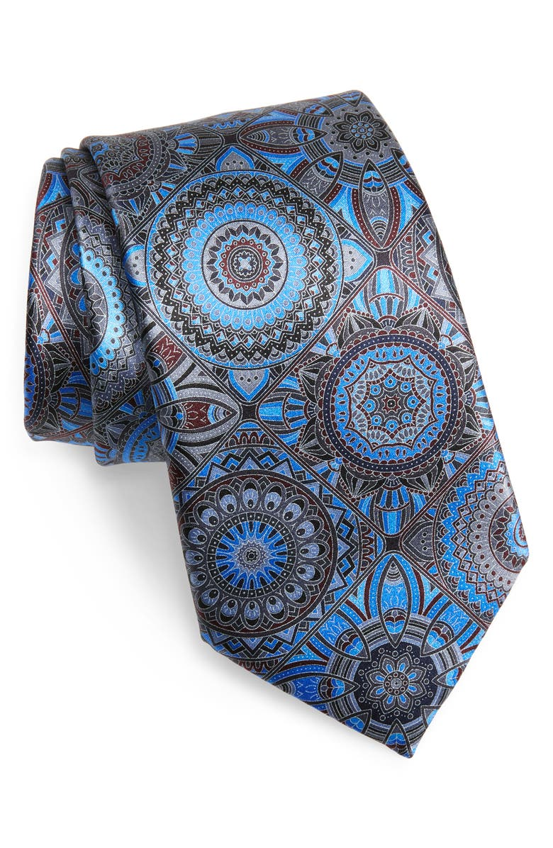 ERMENEGILDO ZEGNA Medallion Silk Tie, Main, color, BLACK/ BLUE