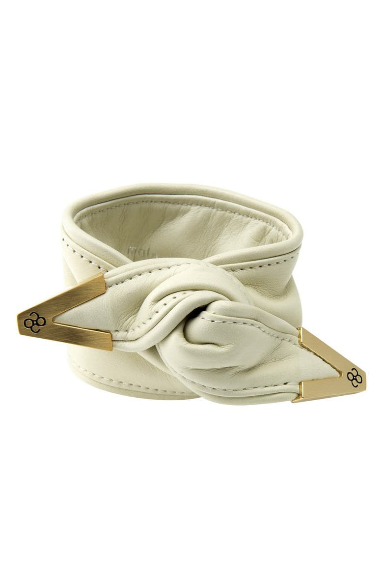 COLETTE MALOUF 'Twist On The Wrist' Leather Hair Tie, Main, color, BEIGE/ SATIN GOLD