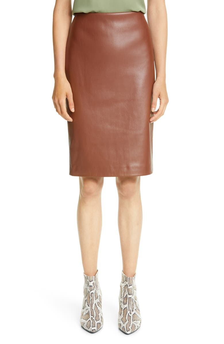 THEORY Skinny Faux Leather Pencil Skirt, Main, color, CHESTNUT
