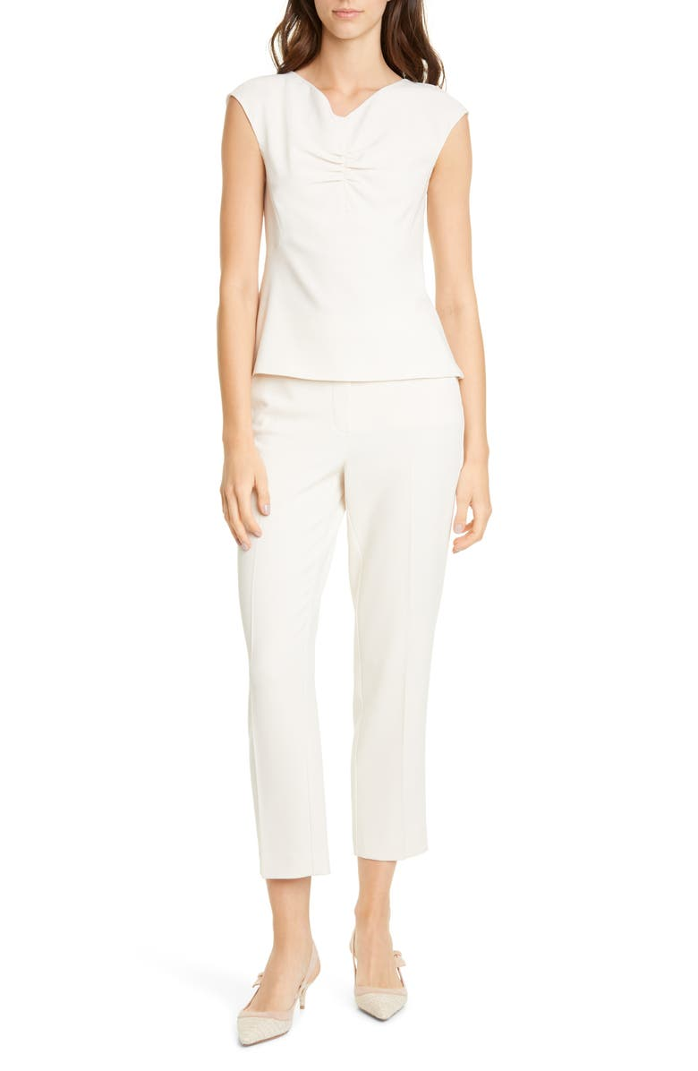 TAILORED BY REBECCA TAYLOR Flat Front Crepe Trousers, Main, color, 277