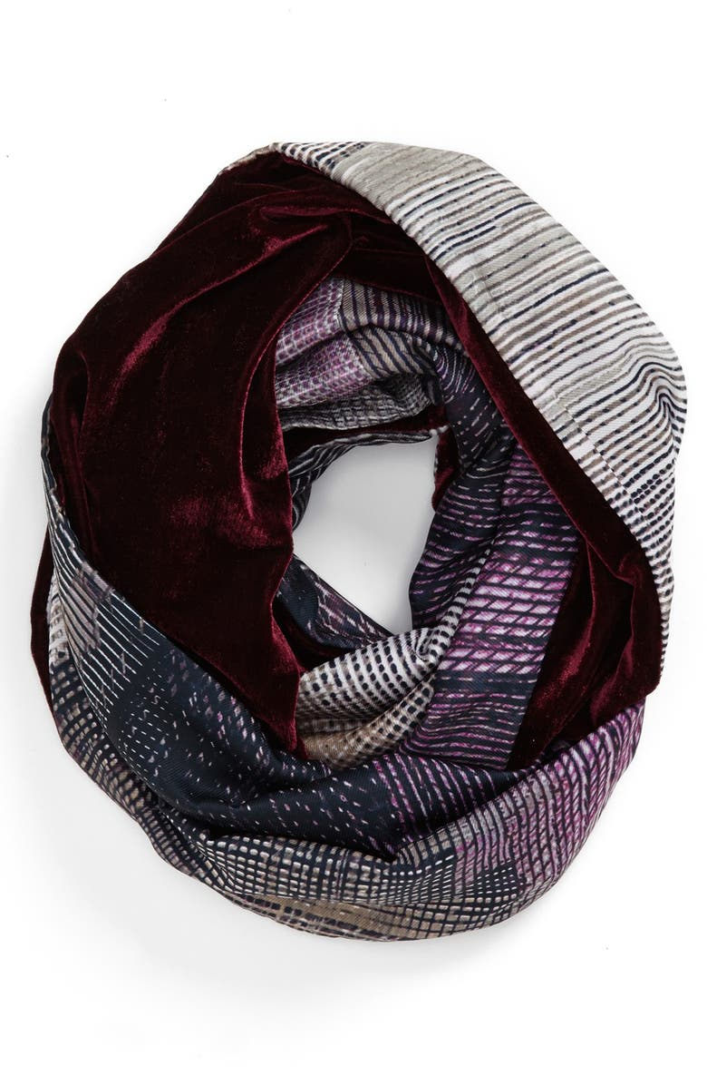 NORDSTROM 'Abstract' Velvet Infinity Scarf, Main, color, 020