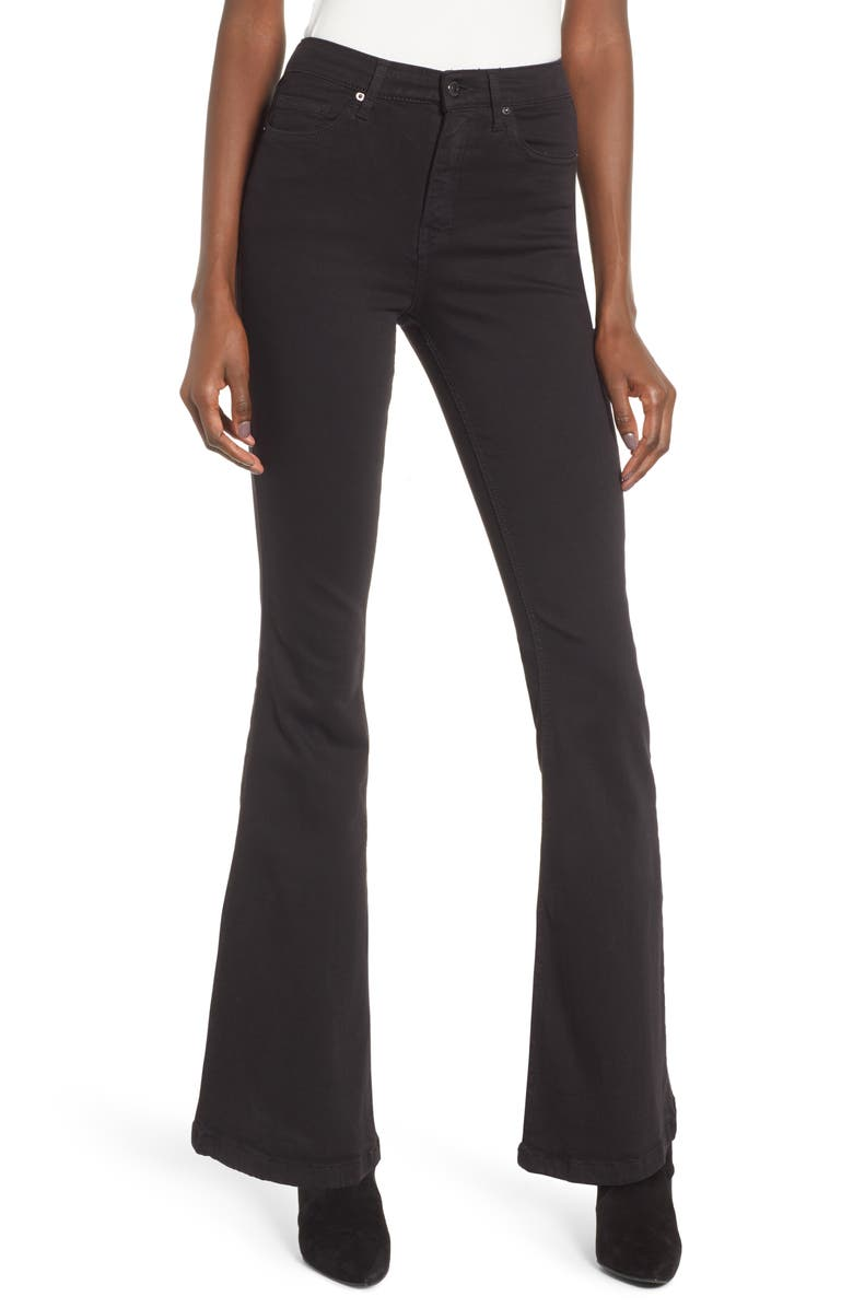 TOPSHOP Jamie High Waist Flare Leg Jeans, Main, color, BLACK