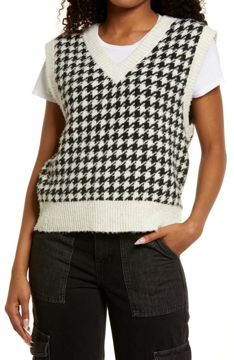 BP. Oversize Houndstooth Recycled Blend Sweater Vest, Main, color, IVORY MINI HOUNDSTOOTH