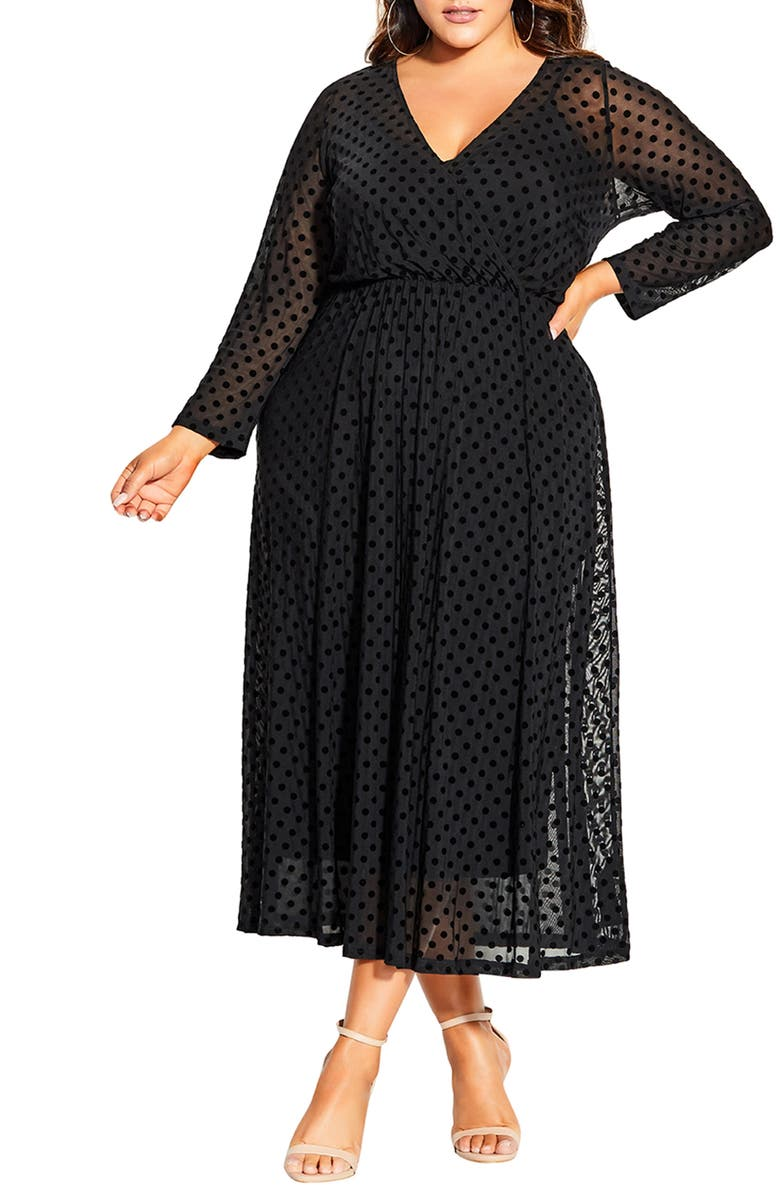 CITY CHIC Flock Spot Long Sleeve Dress, Main, color, 001