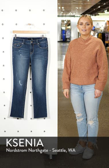 Distressed Ankle Straight Leg Crop Jeans, sales video thumbnail