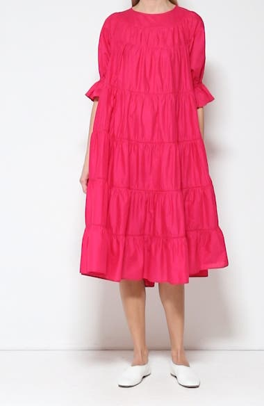Paradis Tiered Puff Sleeve Cotton Dress, video thumbnail