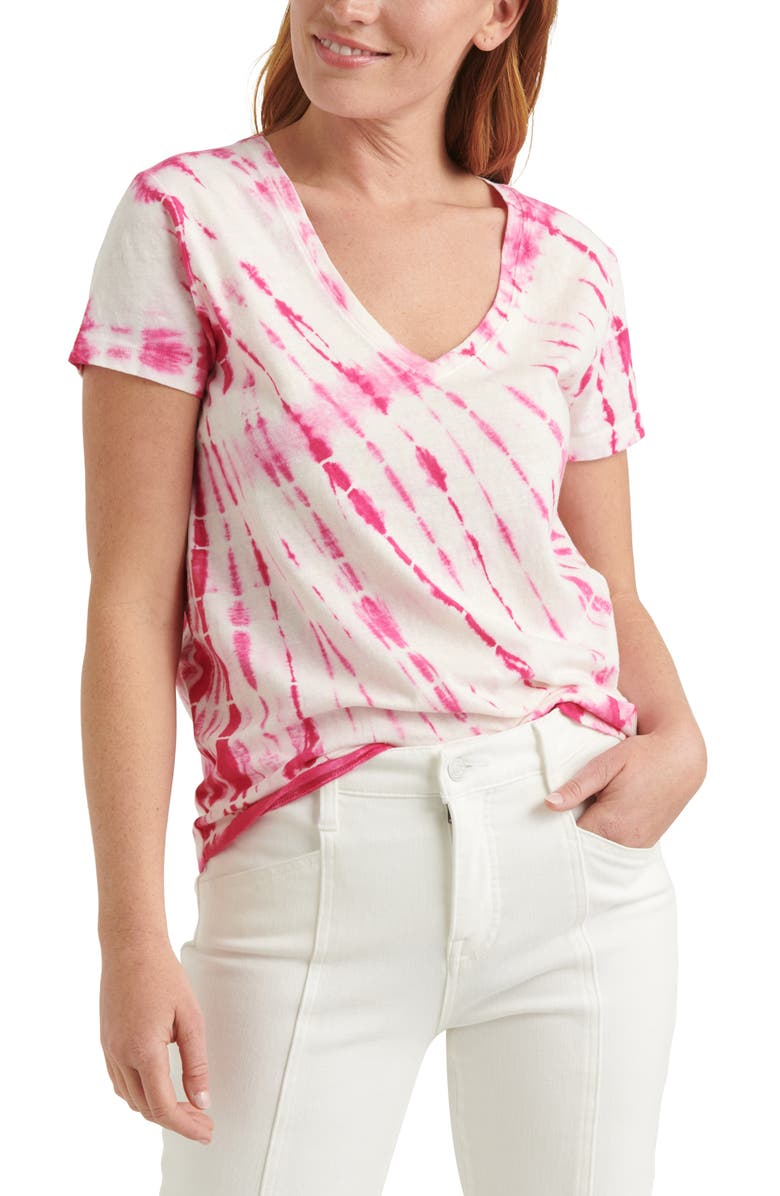 LUCKY BRAND Essential Tie Dye V-Neck T-Shirt, Main, color, TIE DYE PINK