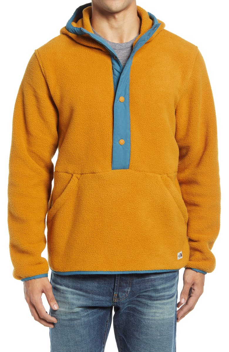 THE NORTH FACE Carbondale Snap-Neck Hoodie, Main, color, TIMBER TAN/ MALLARD BLUE