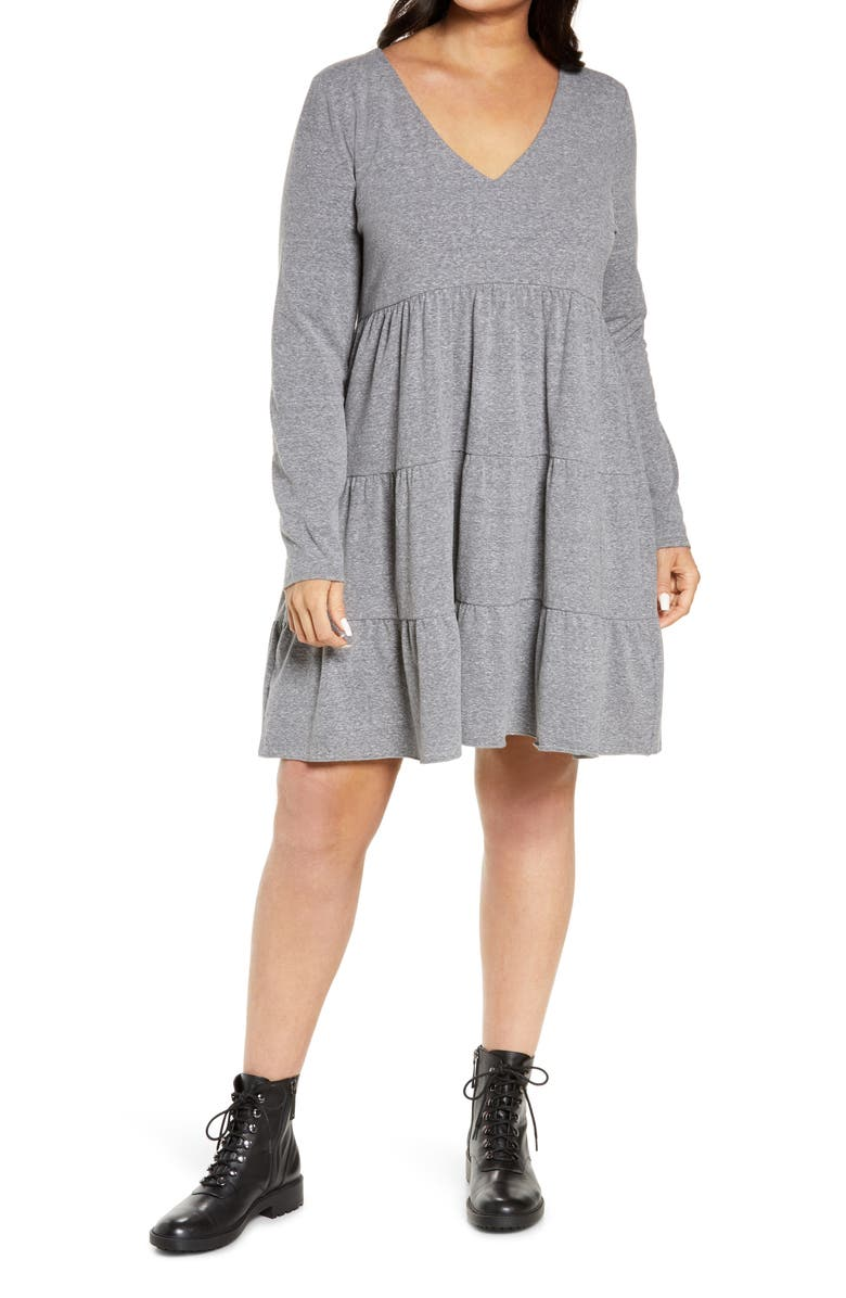 BP. Tiered Long Sleeve Knit Dress, Main, color, GREY MEDIUM HEATHER