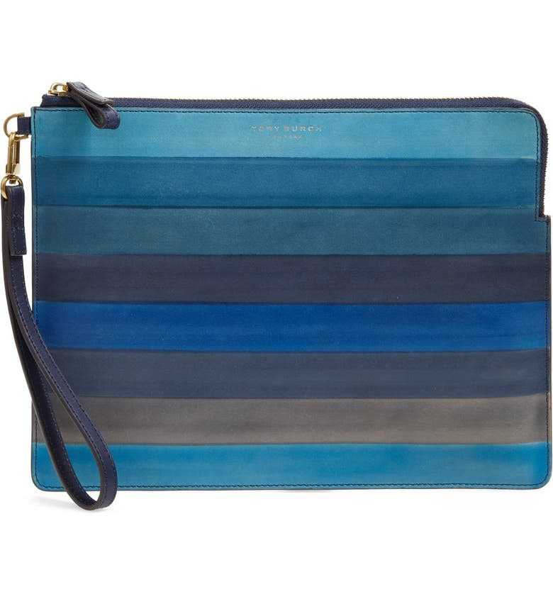 TORY BURCH 'Large Block T Dégradé' Stripe Leather Pouch, Main, color, 400