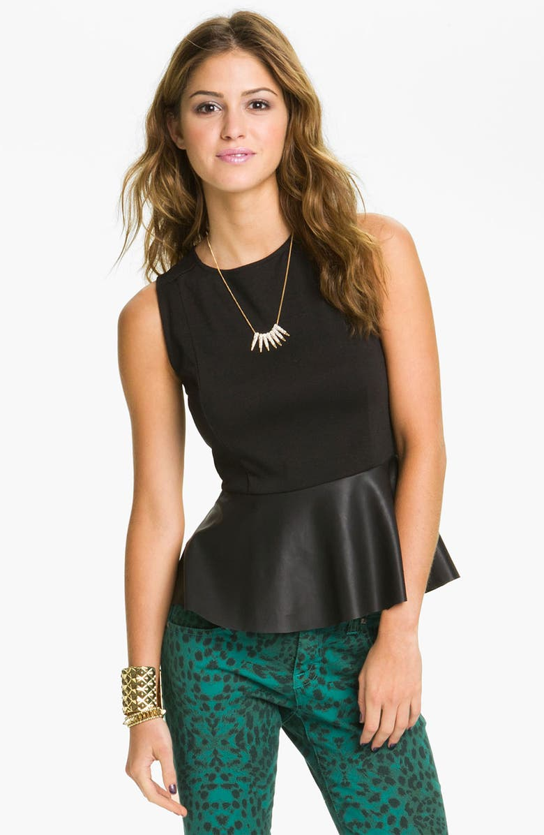 LILY WHITE Faux Leather Peplum Tank, Main, color, 001