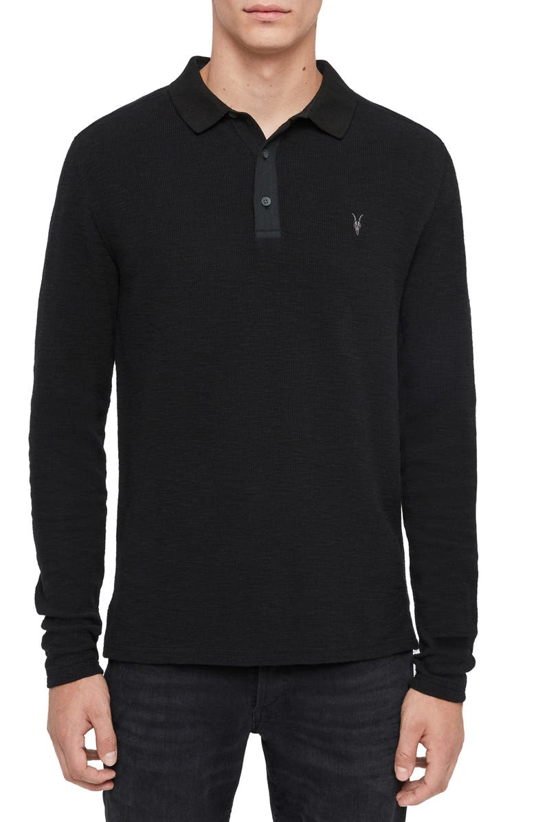 ALLSAINTS Muse Long Sleeve Thermal Henley, Main, color, 001