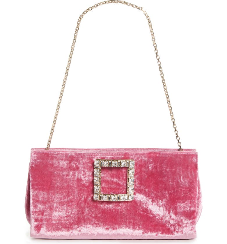 ROGER VIVIER Sweet Vivier Crystal Buckle Shoulder Bag, Main, color, FUXIA