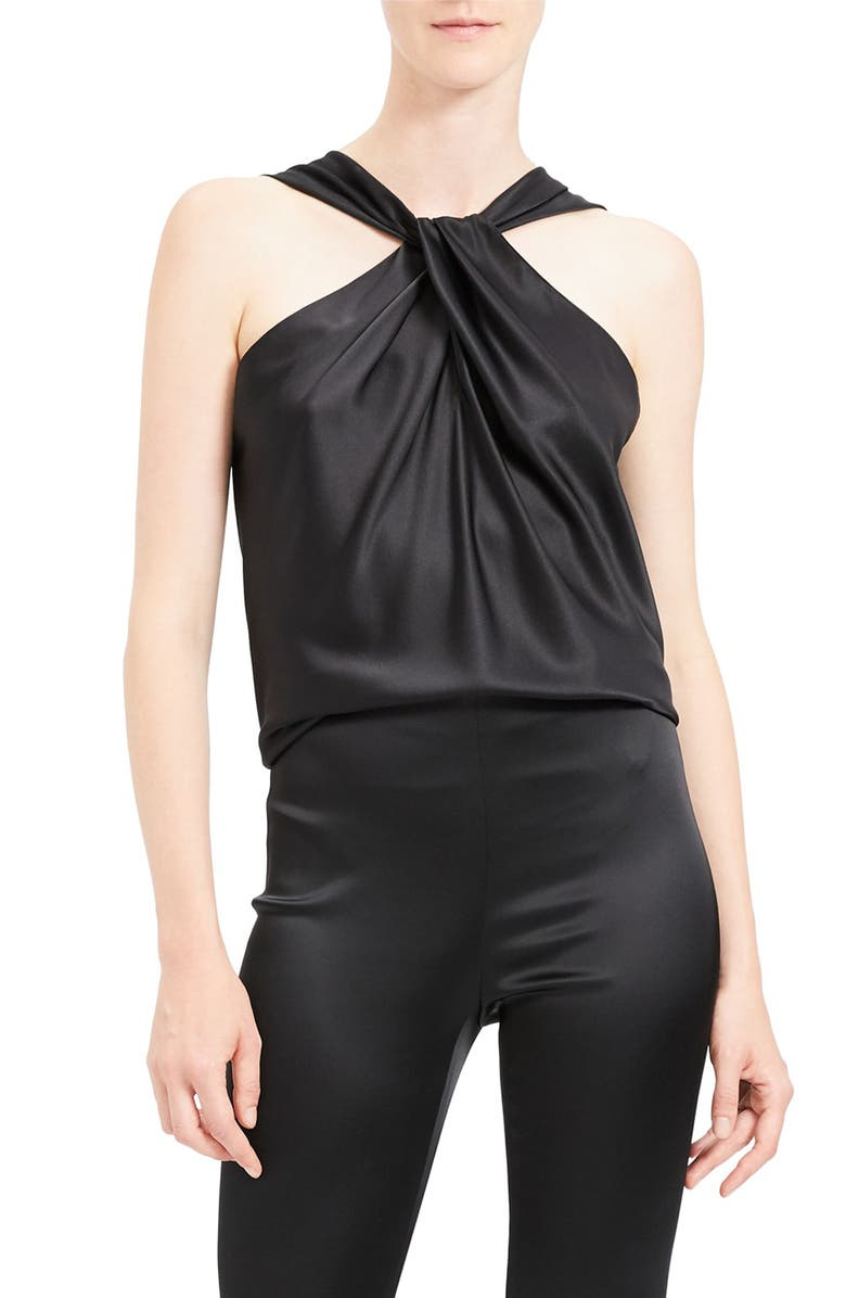 THEORY Twist Stretch Satin Top, Main, color, 001