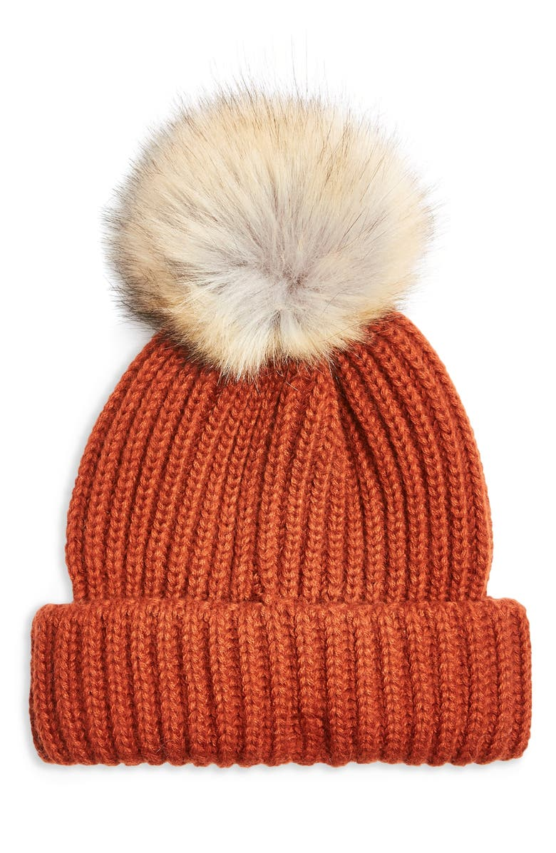 TOPSHOP Faux Fur Pom Beanie, Main, color, 200