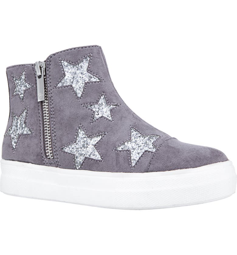 NINA Jacqui Glitter High Top Sneaker, Main, color, GREY MICRO SUEDE