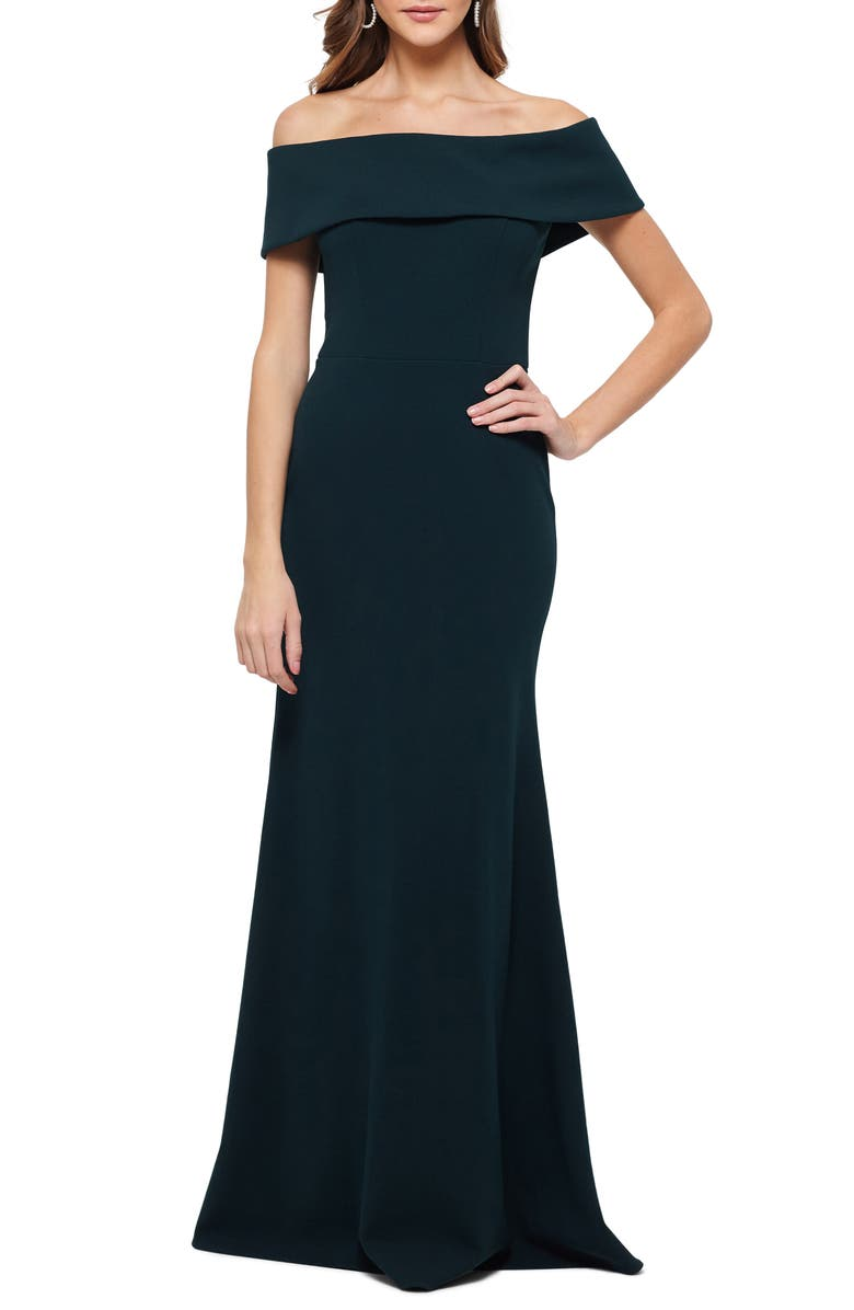 BETSY & ADAM Off the Shoulder Back Ruffle Scuba Crepe Gown, Main, color, 301