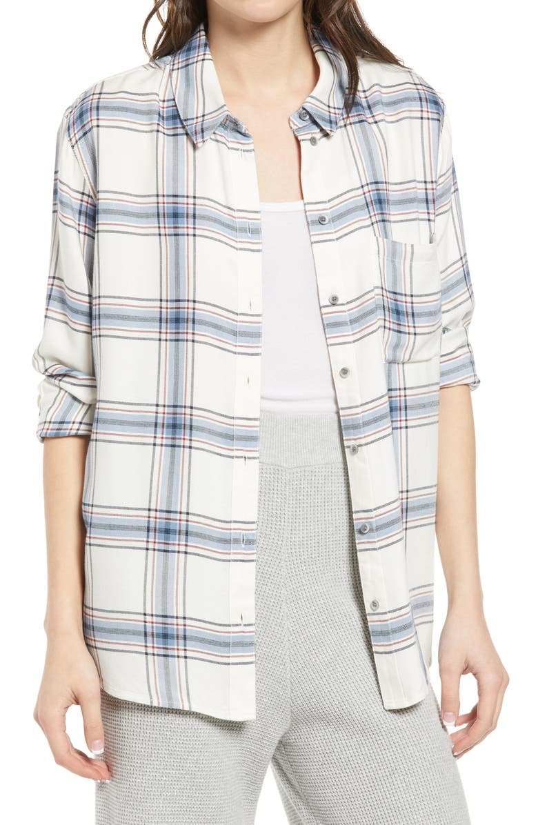 TREASURE & BOND Plaid Boyfriend Shirt, Main, color, IVORY CHARLOTTE PLAID