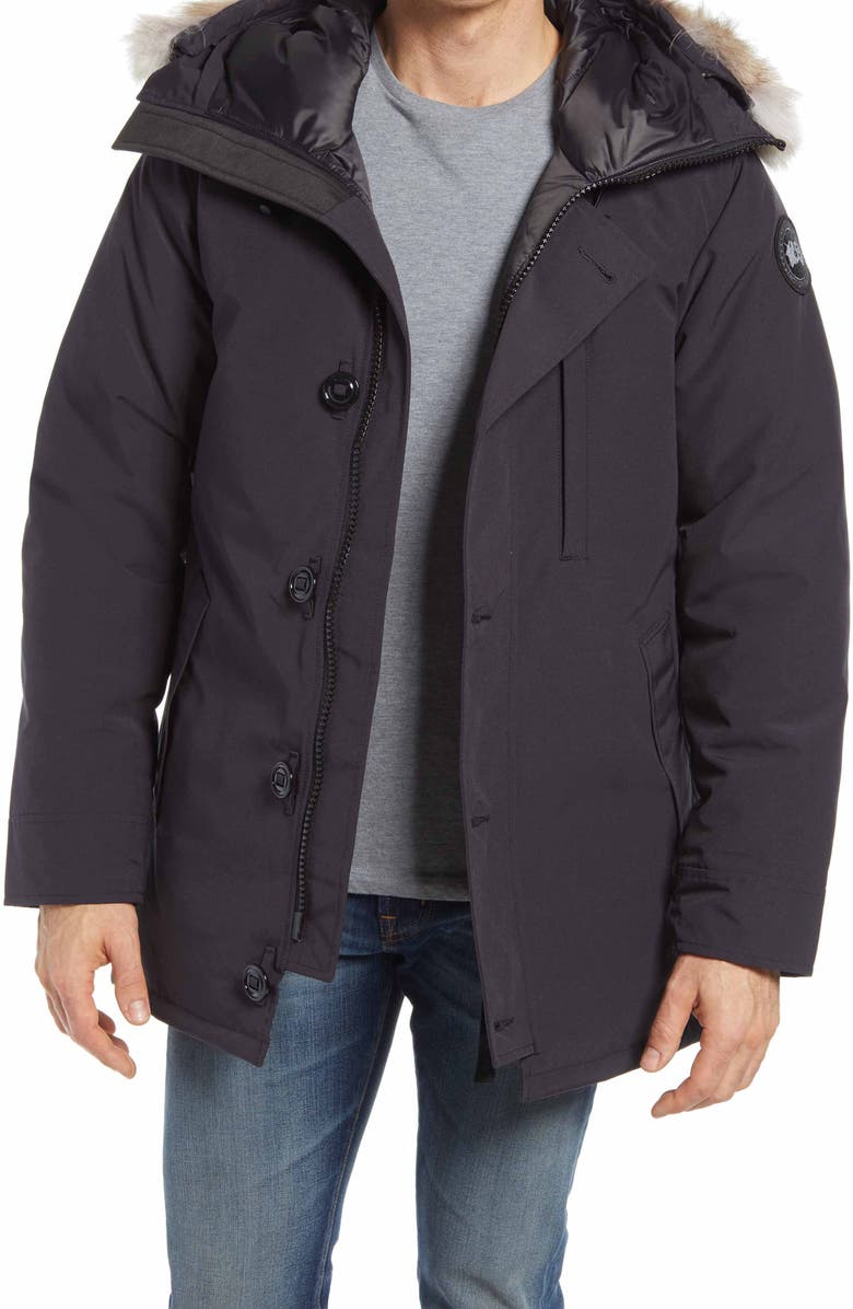 CANADA GOOSE Chateau 625-Fill-Power Down Parka with Genuine Coyote Fur Trim, Main, color, NAVY - MARINE