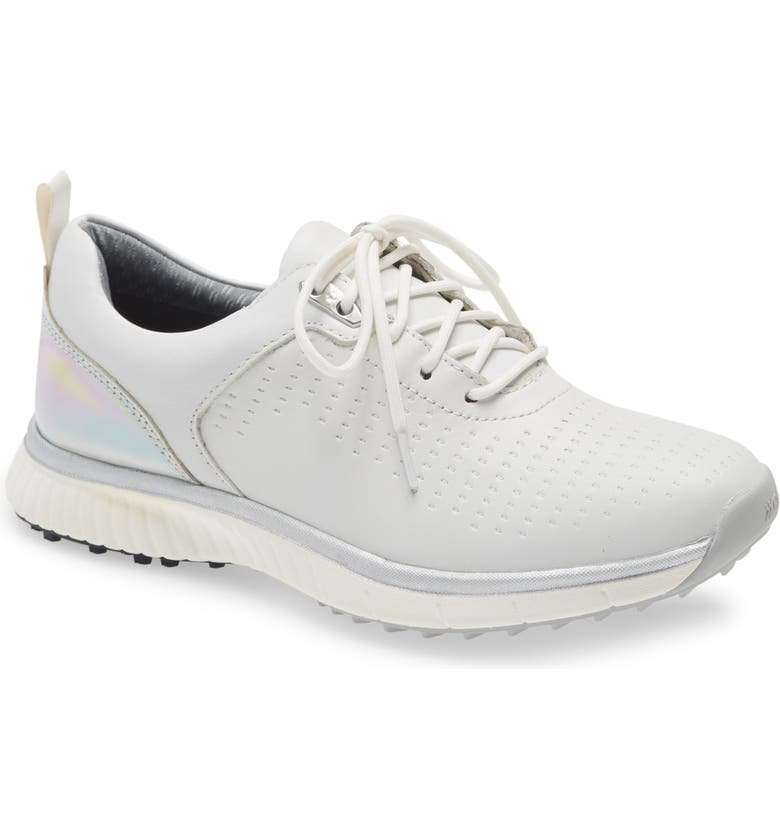 JOHNSTON & MURPHY H-1 Luxe Waterproof Golf Shoe, Main, color, WHITE LEATHER