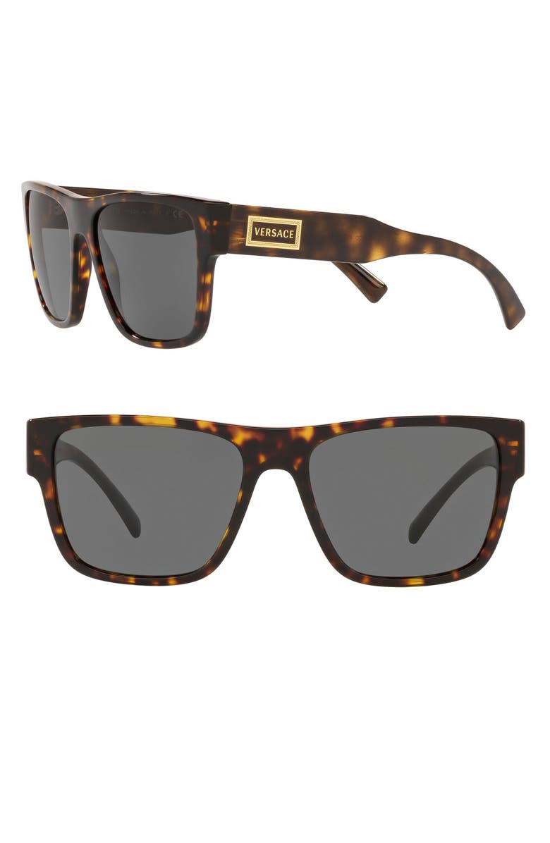 VERSACE 56mm Flat Top Sunglasses, Main, color, HAVANA/ GREY