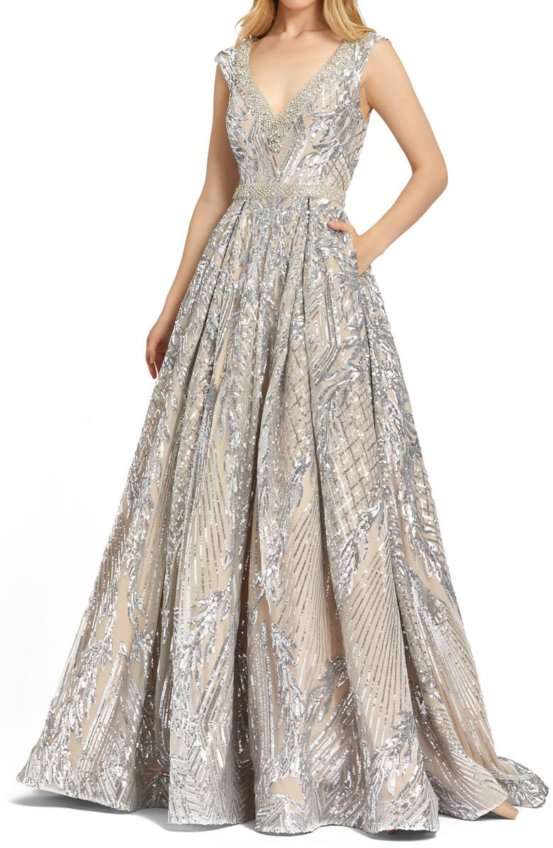 MAC DUGGAL Sequin Ball Gown, Main, color, SILVER