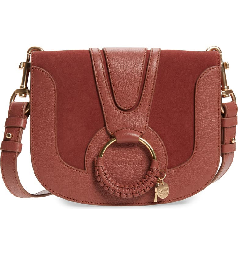 SEE BY CHLOÉ Hana Suede & Leather Shoulder Bag, Main, color, FAWN BROWN
